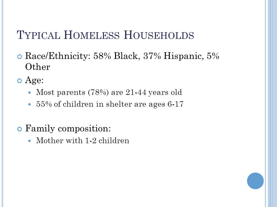 T YPICAL H OMELESS H OUSEHOLDS Race/Ethnicity: 58% Black, 37% Hispanic, 5% Other Age: Most parents (78%) are 21-44 years old 55% of children in shelter are ages 6-17 Family composition: Mother with 1-2 children