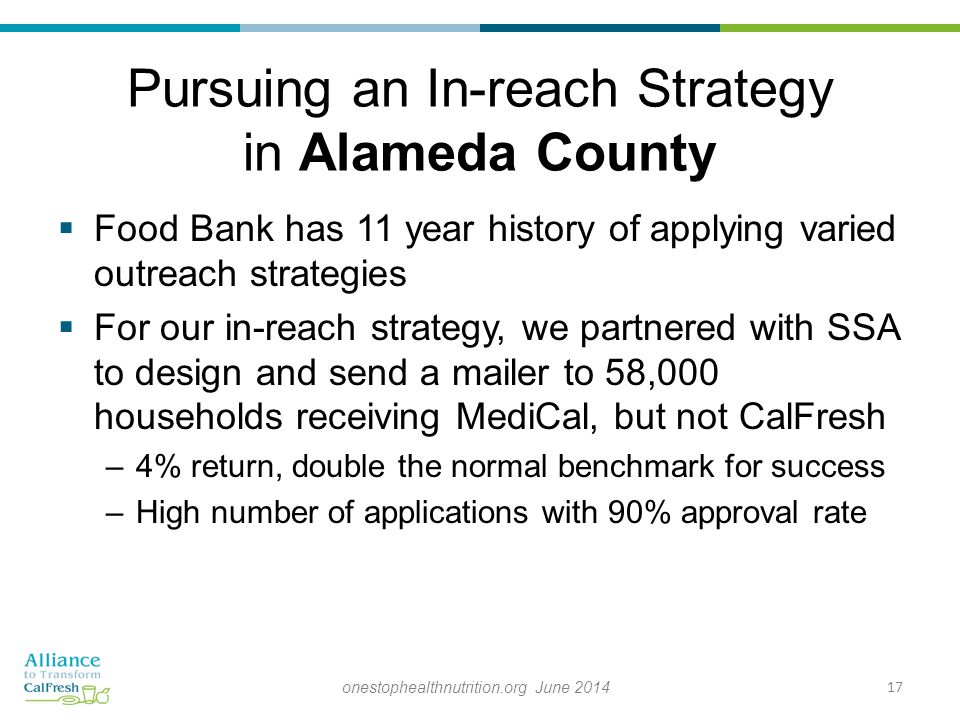 Pursuing an In-reach Strategy in Alameda County  Food Bank has 11 year history of applying varied outreach strategies  For our in-reach strategy, we partnered with SSA to design and send a mailer to 58,000 households receiving MediCal, but not CalFresh –4% return, double the normal benchmark for success –High number of applications with 90% approval rate 17onestophealthnutrition.org June 2014
