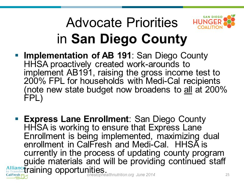 Advocate Priorities in San Diego County  Implementation of AB 191: San Diego County HHSA proactively created work-arounds to implement AB191, raising the gross income test to 200% FPL for households with Medi-Cal recipients (note new state budget now broadens to all at 200% FPL)  Express Lane Enrollment: San Diego County HHSA is working to ensure that Express Lane Enrollment is being implemented, maximizing dual enrollment in CalFresh and Medi-Cal.