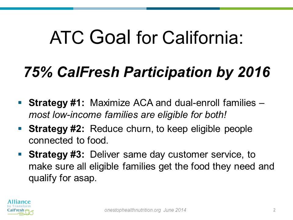 ATC Goal for California: 75% CalFresh Participation by 2016  Strategy #1: Maximize ACA and dual-enroll families – most low-income families are eligible for both.