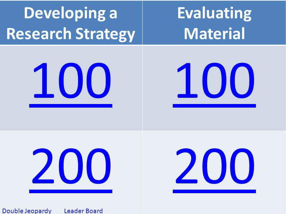 Developing a Research Strategy Evaluating Material 100 200 Leader BoardDouble Jeopardy