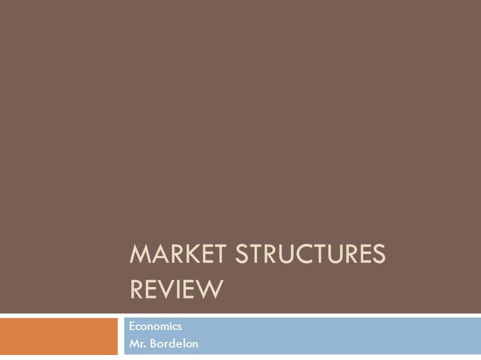 MARKET STRUCTURES REVIEW Economics Mr. Bordelon