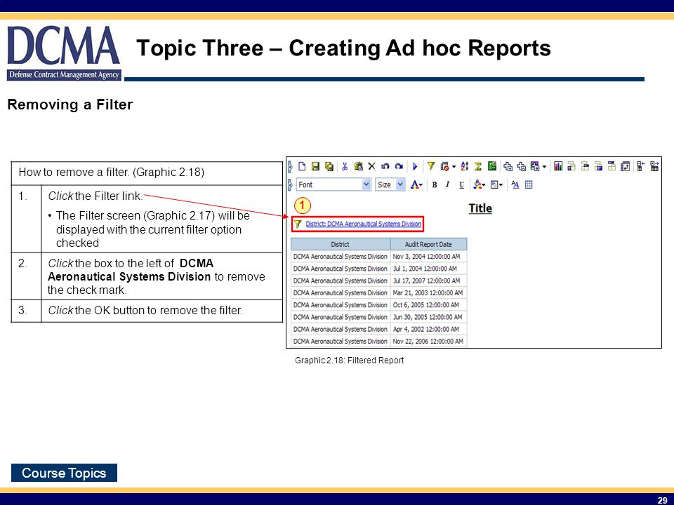Course Topics 29 Topic Three – Creating Ad hoc Reports How to remove a filter.