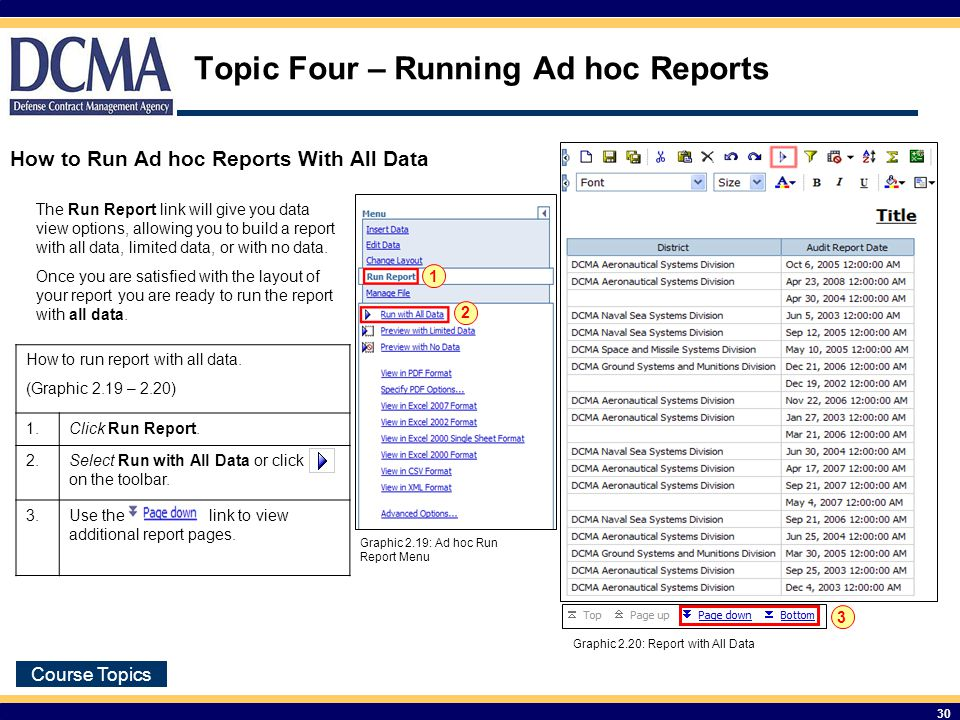 Course Topics 30 Topic Four – Running Ad hoc Reports How to run report with all data.