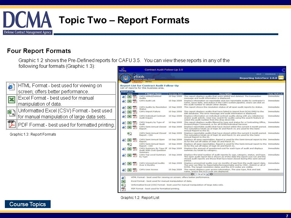 Course Topics 7 Topic Two – Report Formats Four Report Formats Graphic 1.2 shows the Pre-Defined reports for CAFU 3.5.
