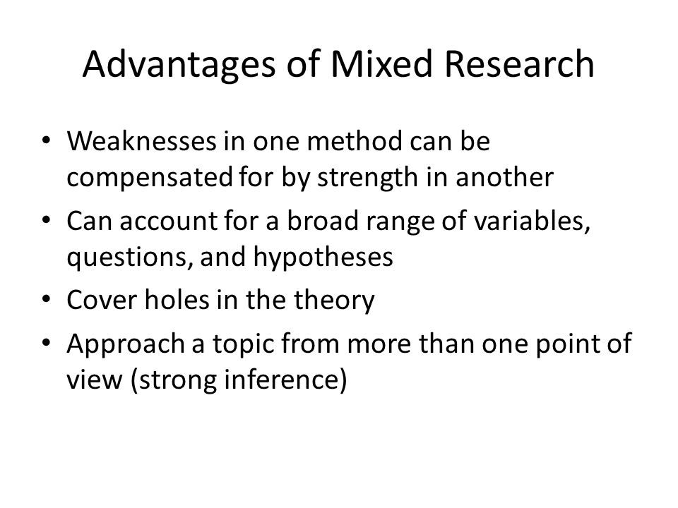 Mixed Research References Chapter 2, Quantitative, Qualitative, and Mixed Research, http://www.southalabama.edu/coe/bset/john son/lectures/lec2.htm http://www.southalabama.edu/coe/bset/john son/lectures/lec2.htm Research Design: Qualitative, Quantitative, and Mixed Methods Approaches.