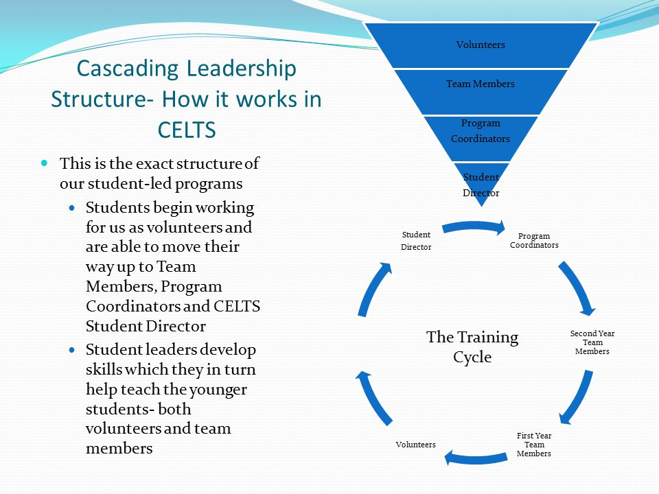 Cascading Leadership Structure- How it works in CELTS This is the exact structure of our student-led programs Students begin working for us as volunteers and are able to move their way up to Team Members, Program Coordinators and CELTS Student Director Student leaders develop skills which they in turn help teach the younger students- both volunteers and team members Volunteers Team Members Program Coordinators Student Director Program Coordinators Second Year Team Members First Year Team Members Volunteers Student Director The Training Cycle