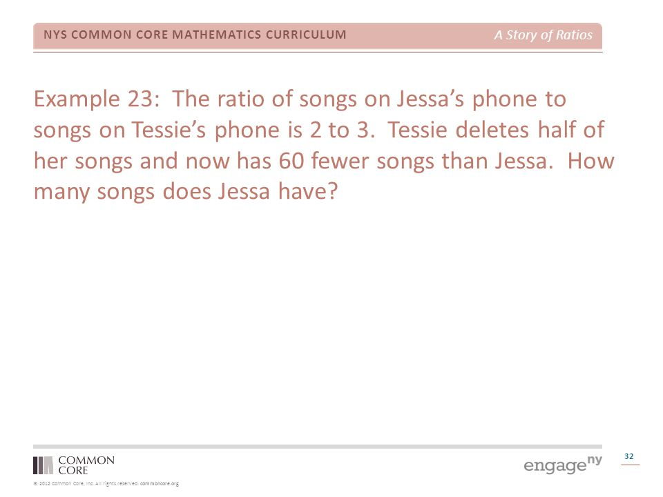 © 2012 Common Core, Inc. All rights reserved. commoncore.org NYS COMMON CORE MATHEMATICS CURRICULUM A Story of Ratios 32 Example 23: The ratio of song