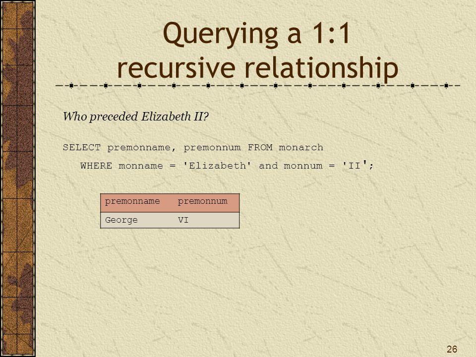 26 Querying a 1:1 recursive relationship Who preceded Elizabeth II.
