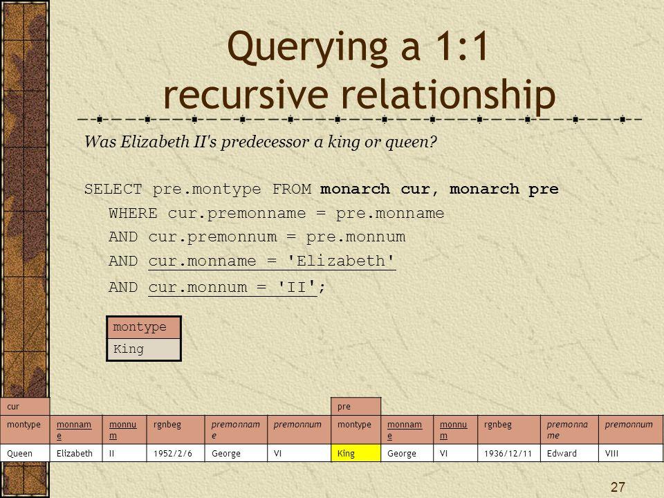27 Querying a 1:1 recursive relationship Was Elizabeth II s predecessor a king or queen.