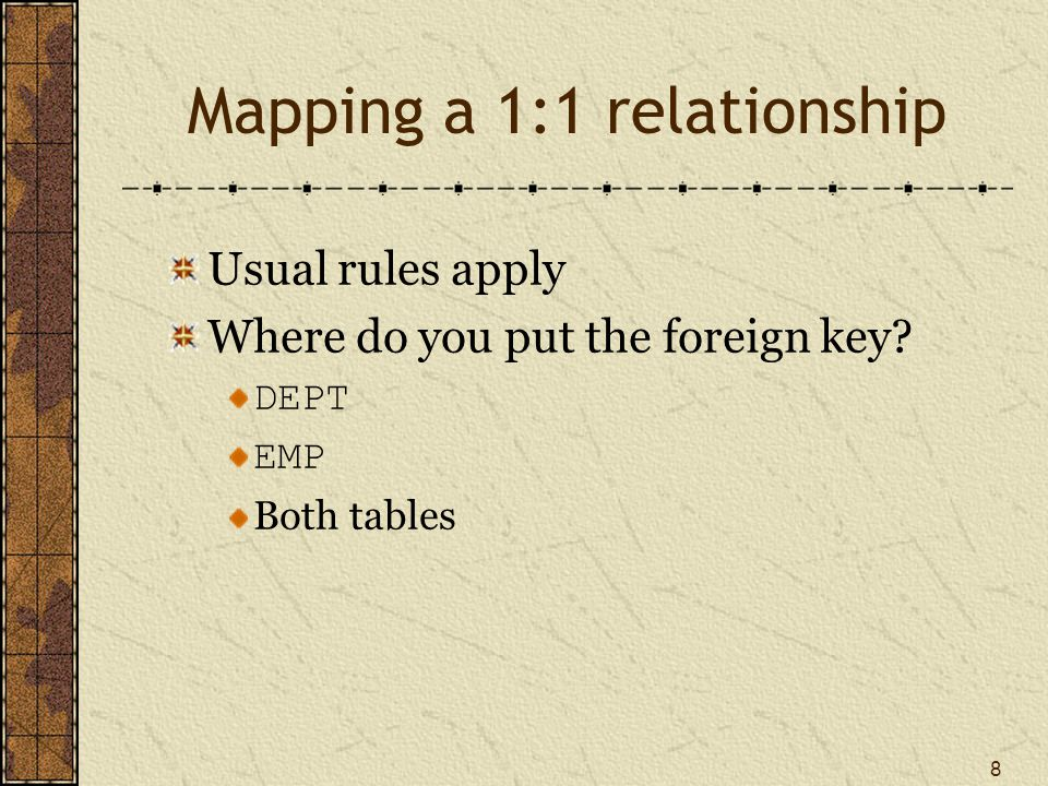 8 Mapping a 1:1 relationship Usual rules apply Where do you put the foreign key.