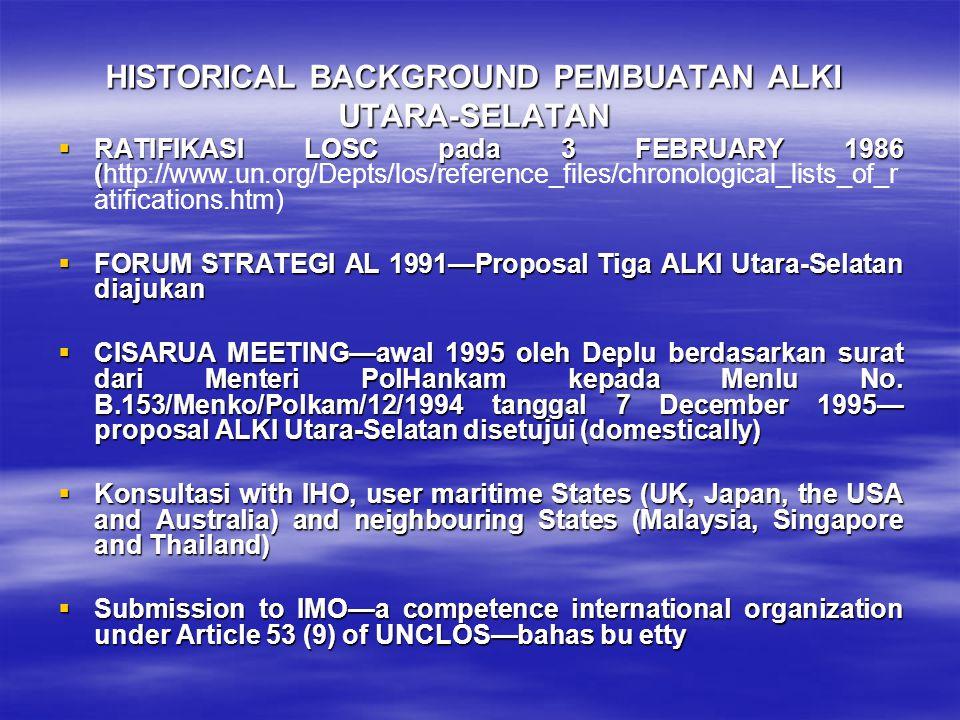 HISTORICAL BACKGROUND PEMBUATAN ALKI UTARA-SELATAN  RATIFIKASI LOSC pada 3 FEBRUARY 1986 (  RATIFIKASI LOSC pada 3 FEBRUARY 1986 (http://www.un.org/