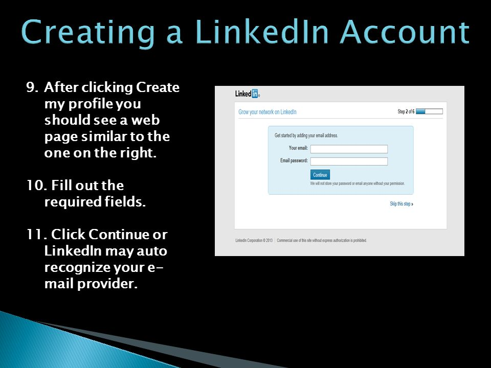 9.After clicking Create my profile you should see a web page similar to the one on the right.