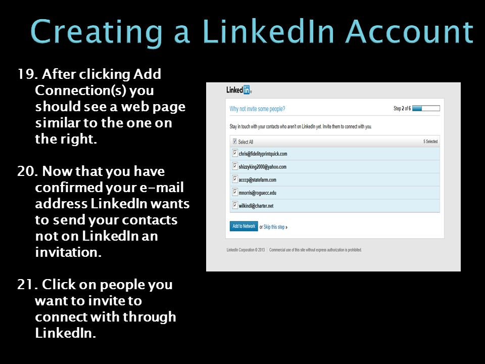 19. After clicking Add Connection(s) you should see a web page similar to the one on the right.