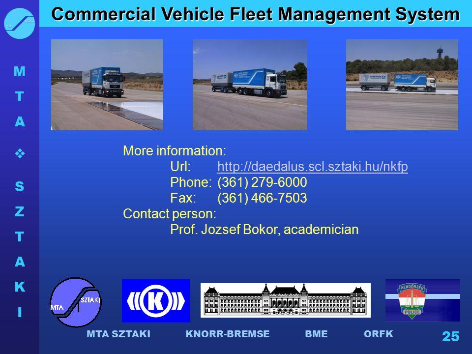 MTASZTAKIMTASZTAKI MTA SZTAKI KNORR-BREMSE BME ORFK 25 Commercial Vehicle Fleet Management System More information: Url: http://daedalus.scl.sztaki.