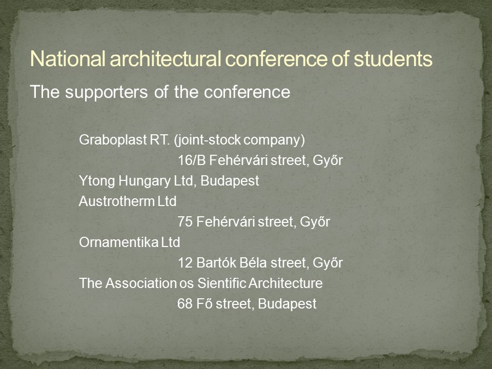 The programmes of the conference 11th March, 1995 8:00-11:00 Registration,occupation of occomodation 11:00-11:30 The official opening /opening ceremony The centere of Technological sciences 5 Szent István street, Győr (the big hall) The maating opened by Tibor Kottmayer Words of welcome by Dr.