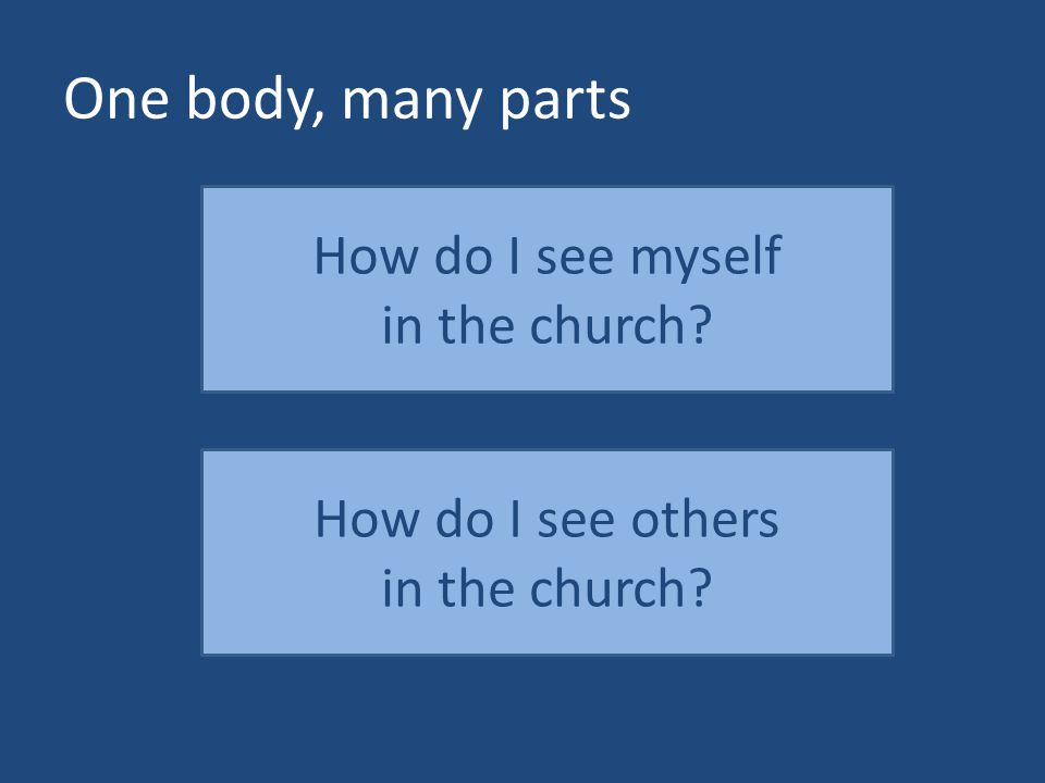One body, many parts How do I see myself in the church? How do I see others in the church?