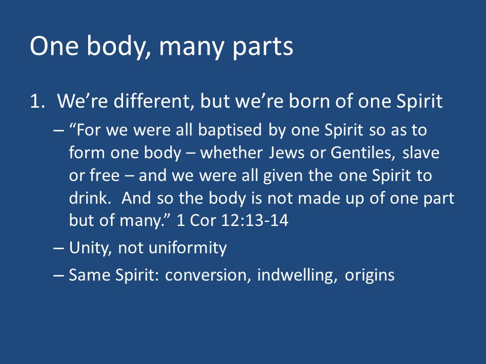 """One body, many parts 1.We're different, but we're born of one Spirit – """"For we were all baptised by one Spirit so as to form one body – whether Jews o"""
