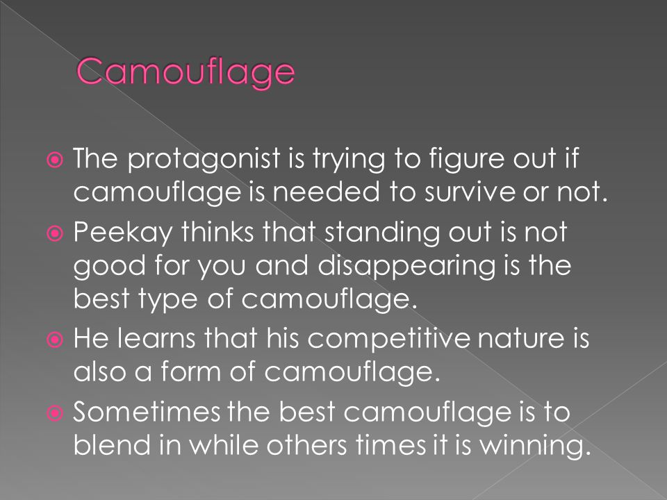  The protagonist is trying to figure out if camouflage is needed to survive or not.