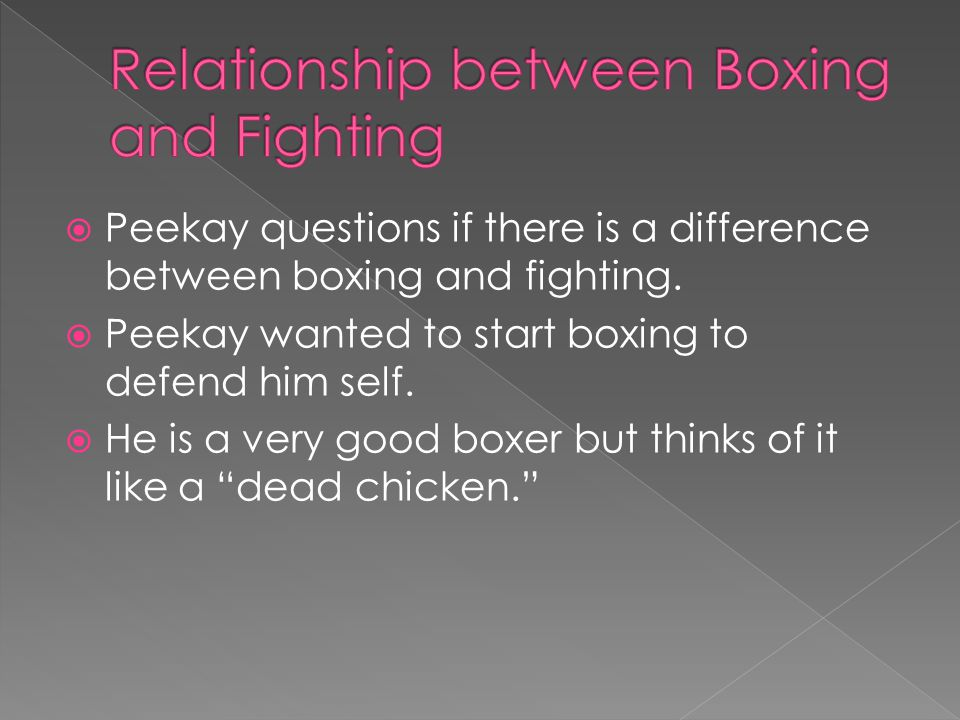  Peekay questions if there is a difference between boxing and fighting.