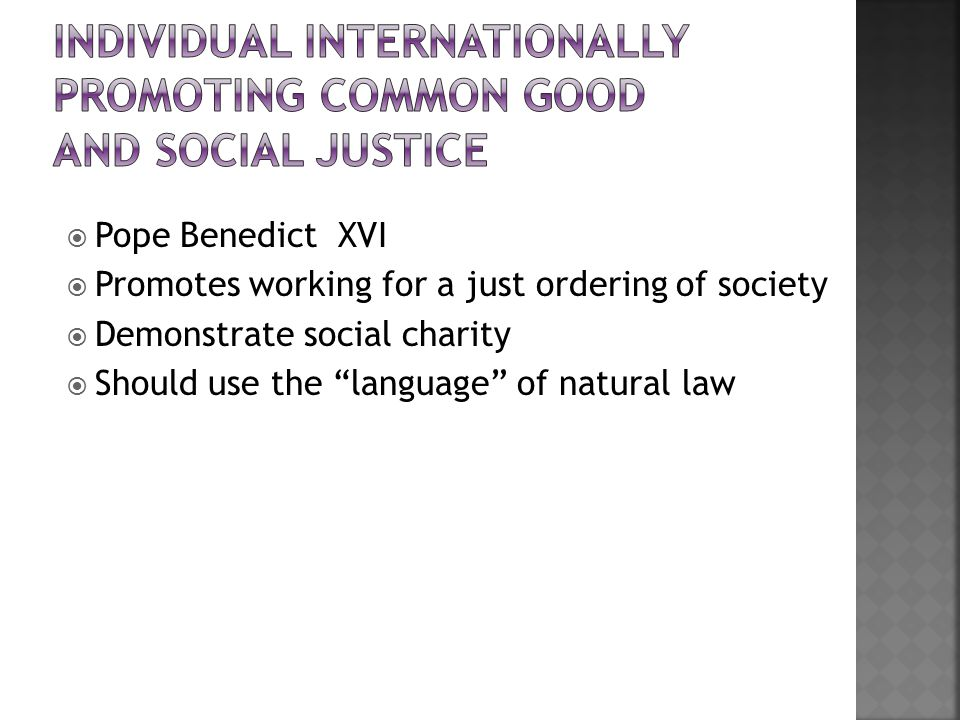  Pope Benedict XVI  Promotes working for a just ordering of society  Demonstrate social charity  Should use the language of natural law