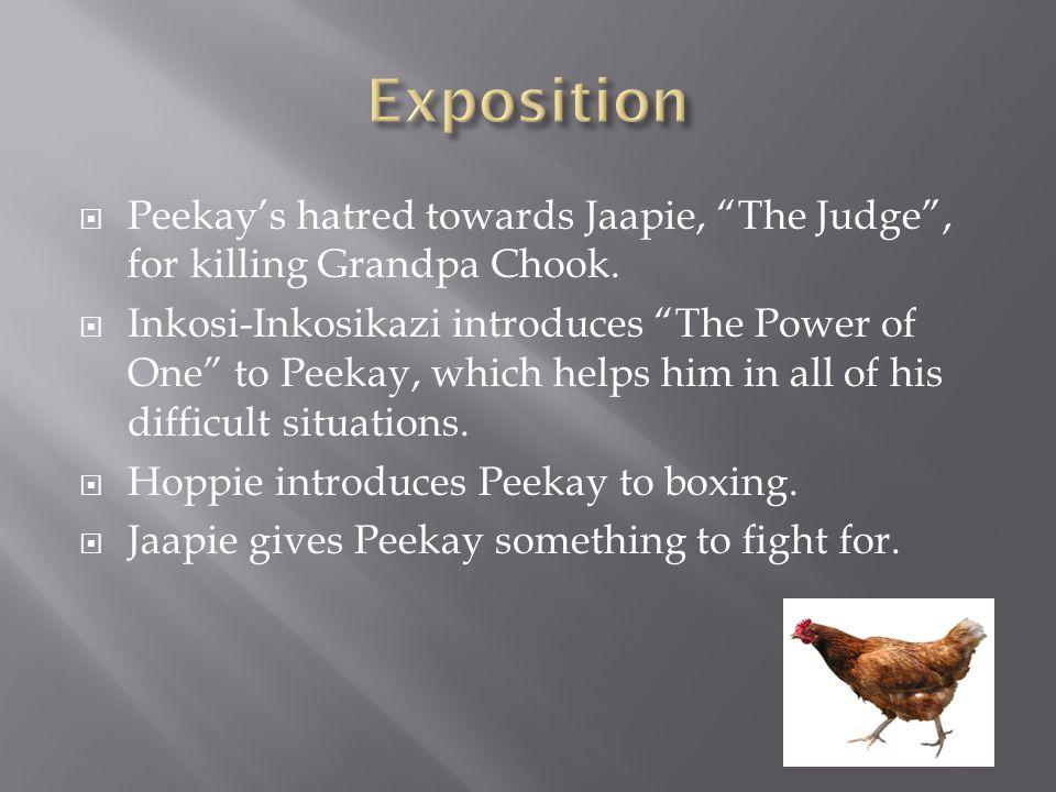  Peekay's hatred towards Jaapie, The Judge , for killing Grandpa Chook.