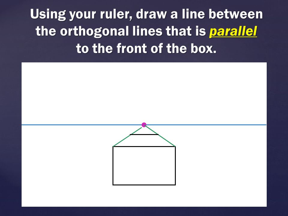 Using your ruler, draw a line between the orthogonal lines that is parallel to the front of the box.