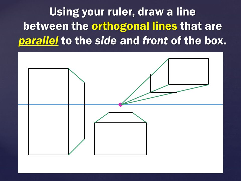 Using your ruler, draw a line between the orthogonal lines that are parallel to the side and front of the box.