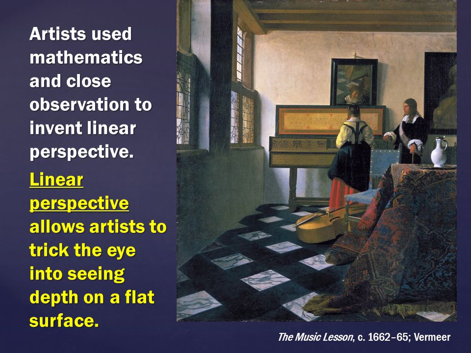 Artists used mathematics and close observation to invent linear perspective. Linear perspective allows artists to trick the eye into seeing depth on a