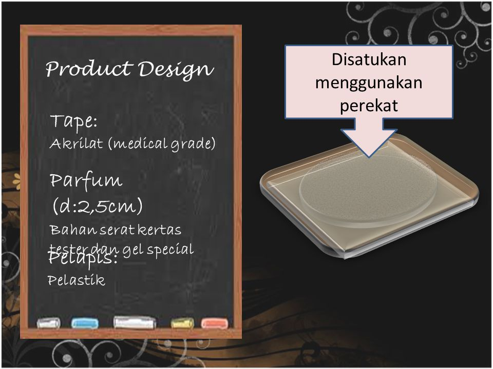 Product Design Tape: Akrilat (medical grade) Parfum (d:2,5cm) Bahan serat kertas tester dan gel special Pelapis: Pelastik Disatukan menggunakan pereka