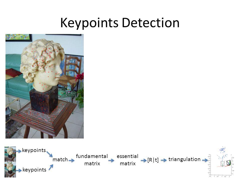 Keypoints Detection keypoints match fundamental matrix essential matrix [R t] triangulation