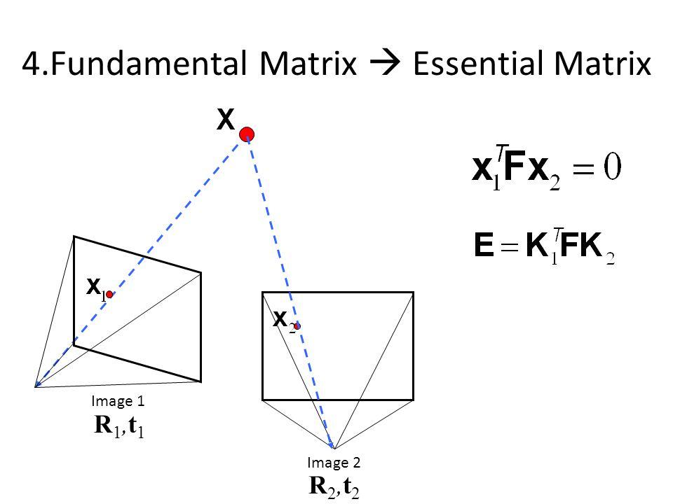 Image 1 Image 2 R1,t1R1,t1 R2,t2R2,t2 4.Fundamental Matrix  Essential Matrix