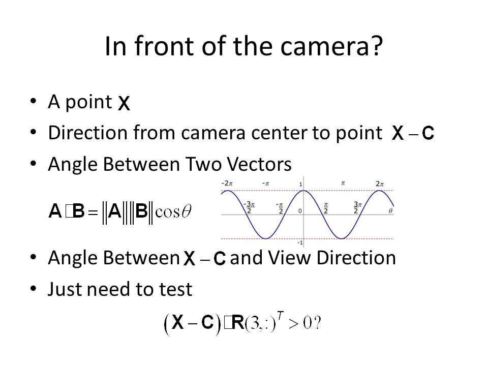 In front of the camera? A point Direction from camera center to point Angle Between Two Vectors Angle Between and View Direction Just need to test