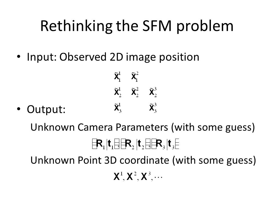 Rethinking the SFM problem Input: Observed 2D image position Output: Unknown Camera Parameters (with some guess) Unknown Point 3D coordinate (with som