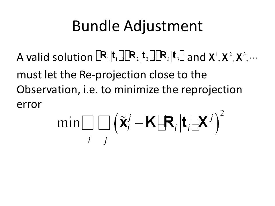 Bundle Adjustment A valid solution and must let the Re-projection close to the Observation, i.e. to minimize the reprojection error