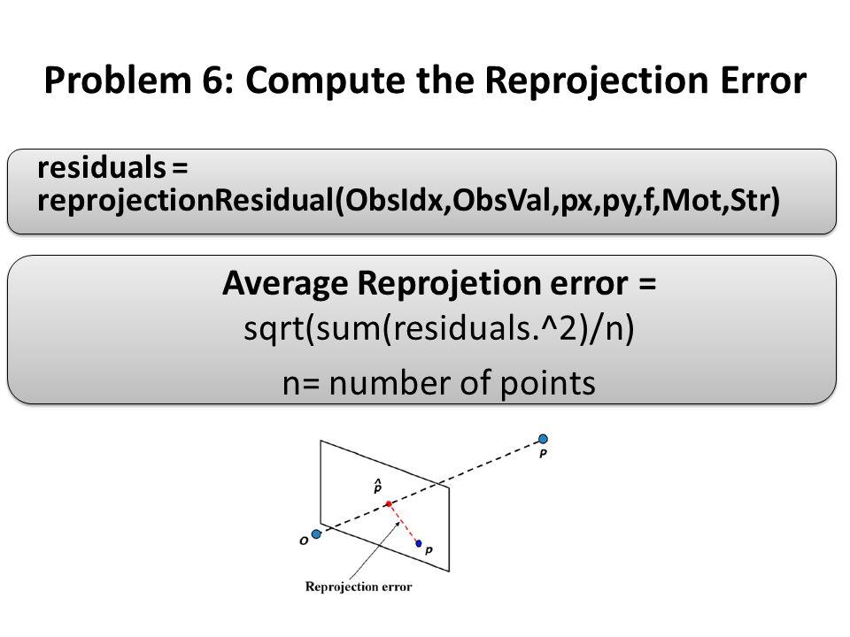 Problem 6: Compute the Reprojection Error residuals = reprojectionResidual(ObsIdx,ObsVal,px,py,f,Mot,Str) Average Reprojetion error = sqrt(sum(residua