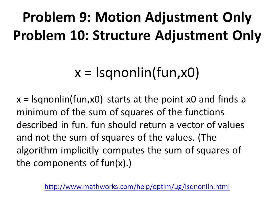 x = lsqnonlin(fun,x0) x = lsqnonlin(fun,x0) starts at the point x0 and finds a minimum of the sum of squares of the functions described in fun. fun sh