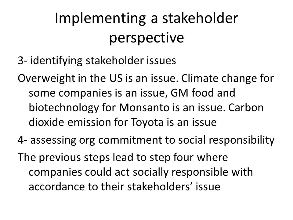 Implementing a stakeholder perspective 3- identifying stakeholder issues Overweight in the US is an issue. Climate change for some companies is an iss