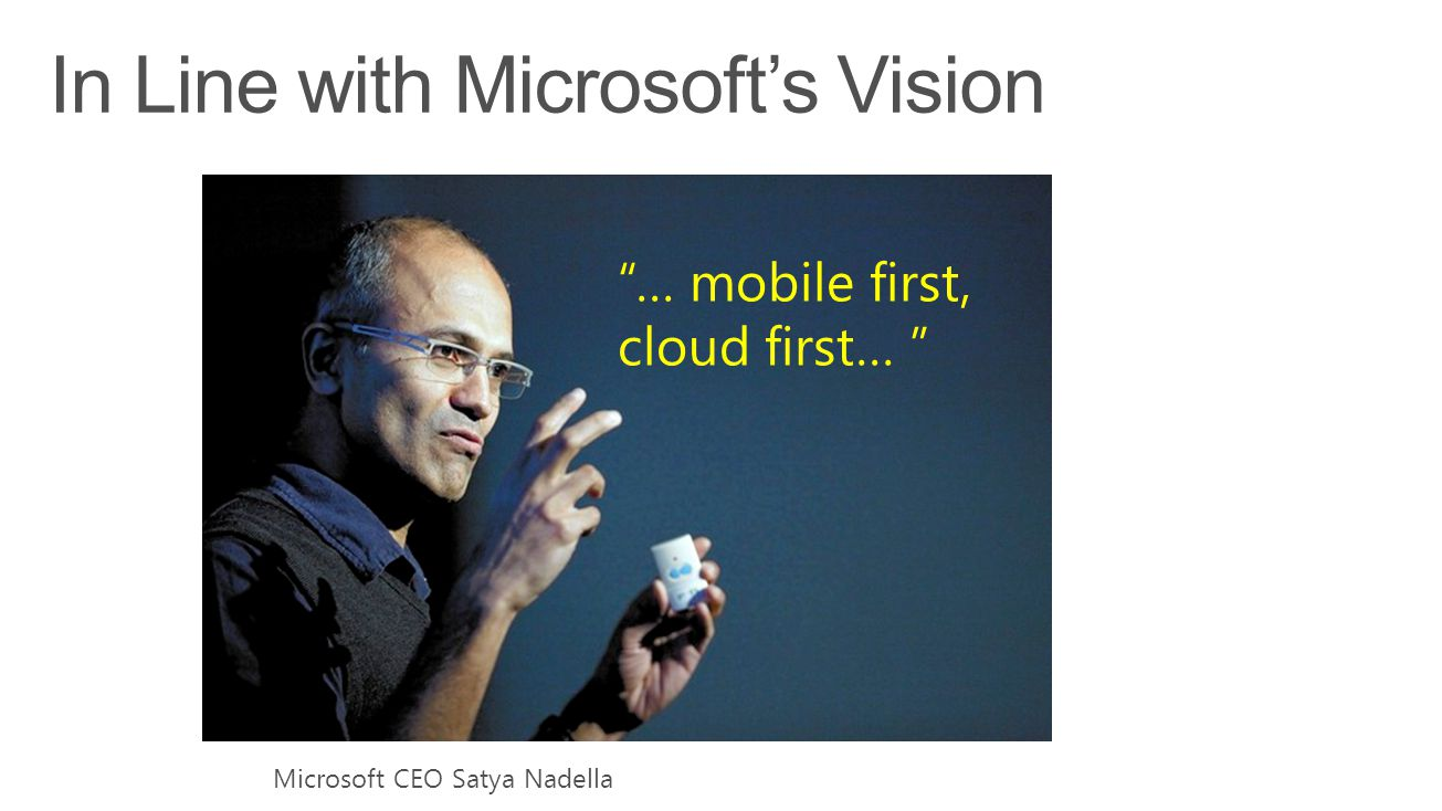 … mobile first, cloud first… Microsoft CEO Satya Nadella