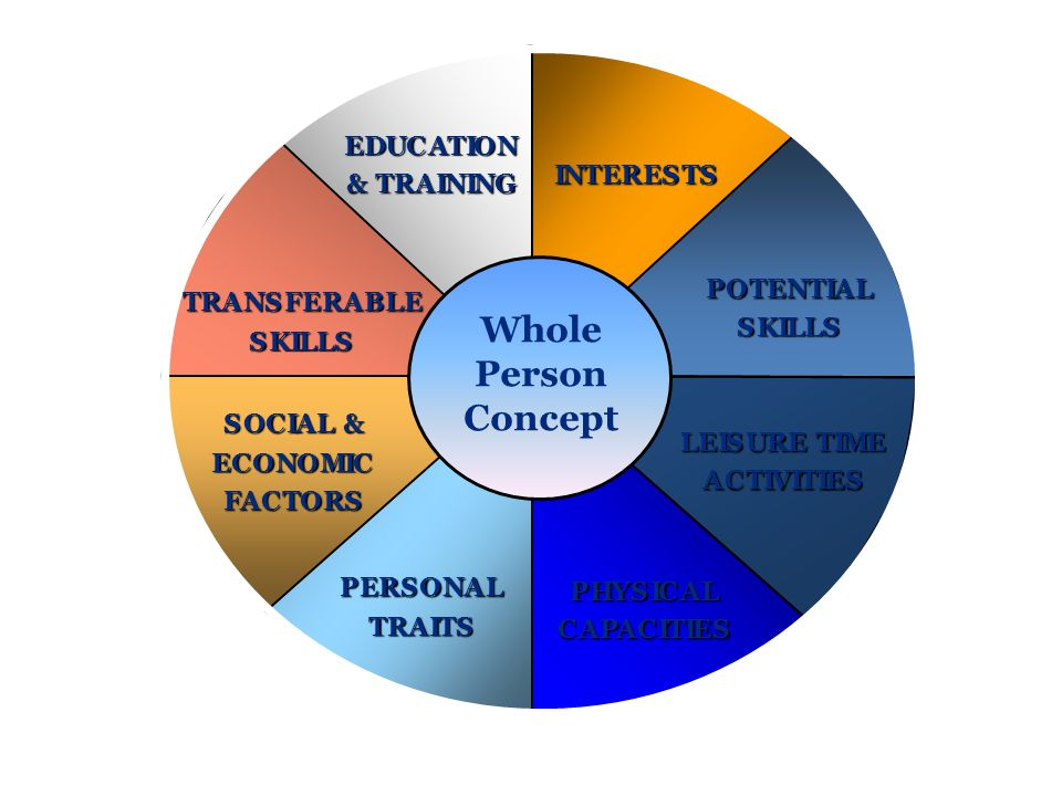 SOCIAL & ECONOMIC FACTORS INTERESTS POTENTIAL SKILLS LEISURE TIME ACTIVITIES PHYSICAL CAPACITIES PERSONAL TRAITS TRANSFERABLE SKILLS EDUCATION & TRAIN