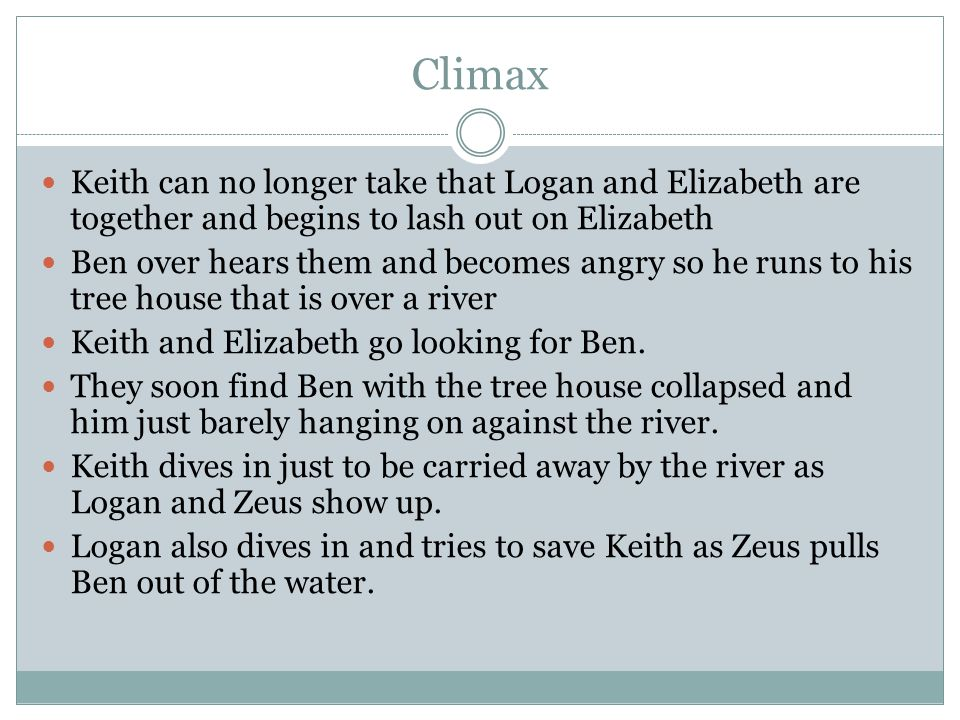 Climax Keith can no longer take that Logan and Elizabeth are together and begins to lash out on Elizabeth Ben over hears them and becomes angry so he runs to his tree house that is over a river Keith and Elizabeth go looking for Ben.
