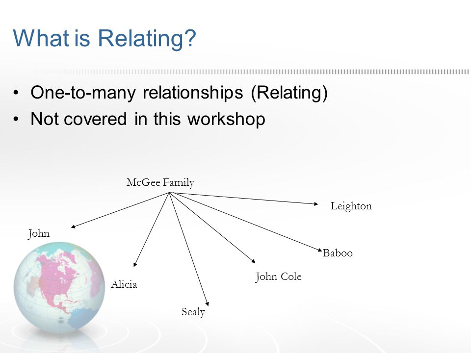 What is Relating? One-to-many relationships (Relating) Not covered in this workshop McGee Family John Alicia John Cole Leighton Baboo Sealy