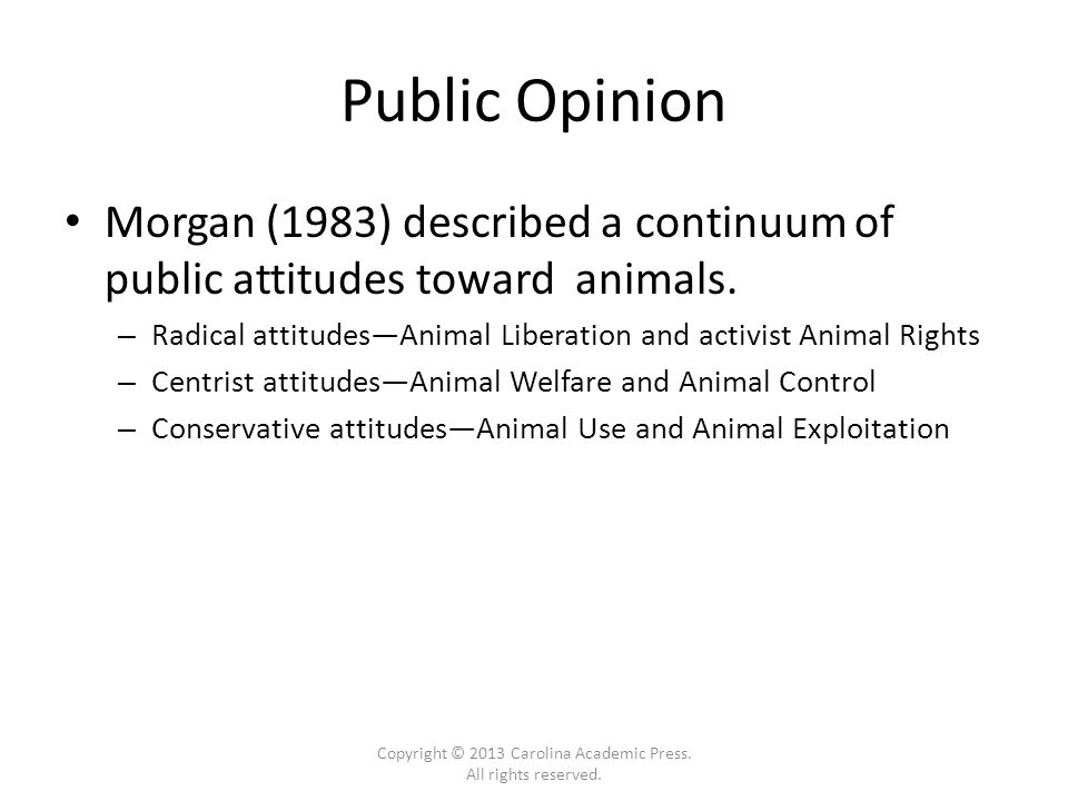Public Opinion Morgan (1983) described a continuum of public attitudes toward animals.