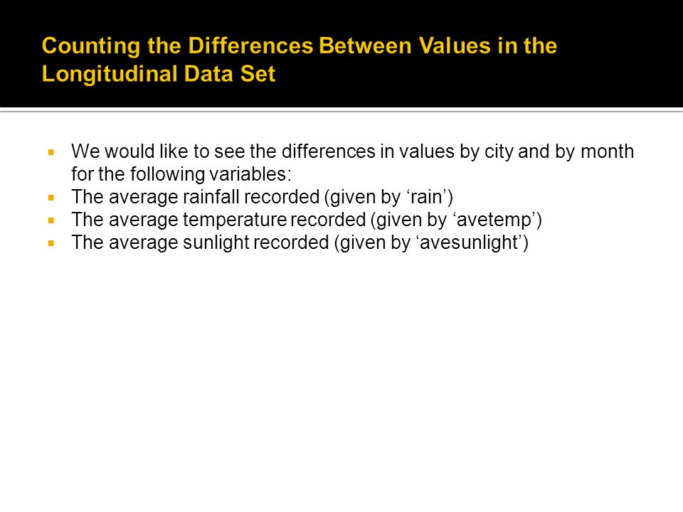  We would like to see the differences in values by city and by month for the following variables:  The average rainfall recorded (given by 'rain')  The average temperature recorded (given by 'avetemp')  The average sunlight recorded (given by 'avesunlight')