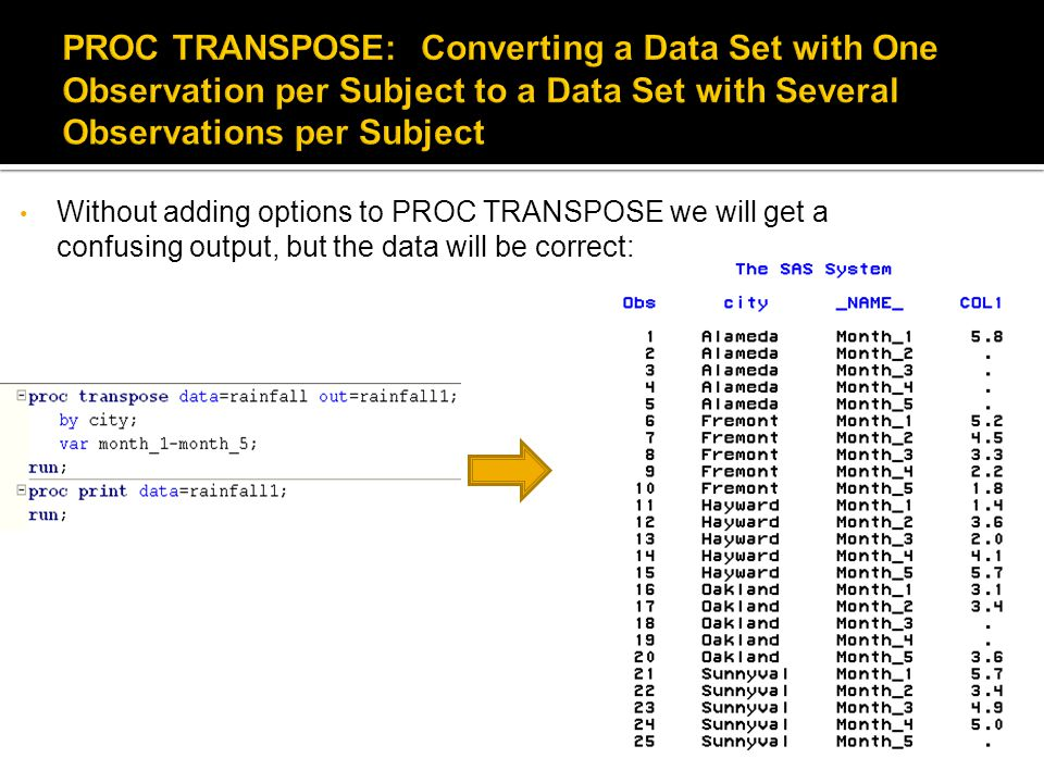 Without adding options to PROC TRANSPOSE we will get a confusing output, but the data will be correct: