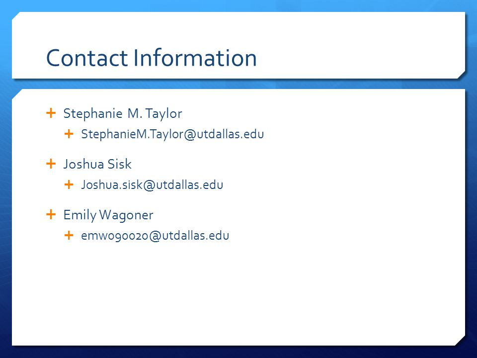 Contact Information  Stephanie M.