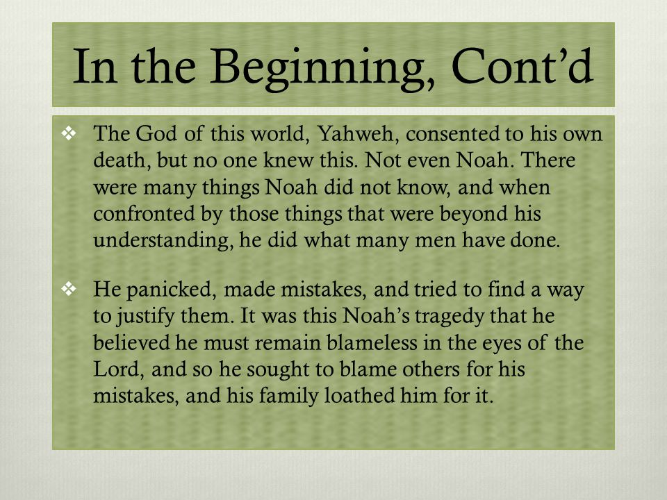 Questioning Genesis  We are given a relatively familiar reference to Noah and the story of the Flood.