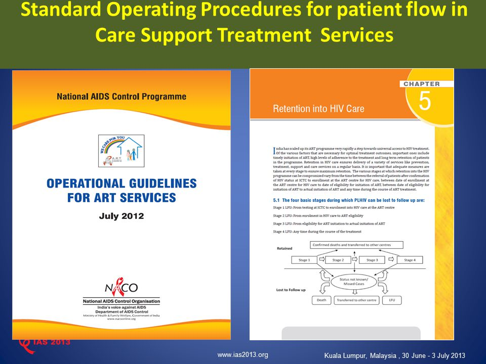 www.ias2013.org Kuala Lumpur, Malaysia, 30 June - 3 July 2013 Standard Operating Procedures for patient flow in Care Support Treatment Services