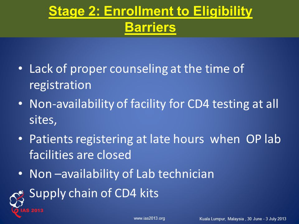 www.ias2013.org Kuala Lumpur, Malaysia, 30 June - 3 July 2013 Stage 2: Enrollment to Eligibility Barriers Lack of proper counseling at the time of reg
