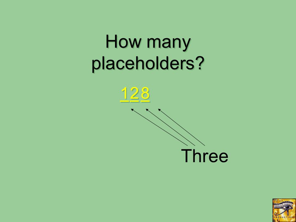 Three 8 8 1 1 2 2 How many placeholders? 2 2
